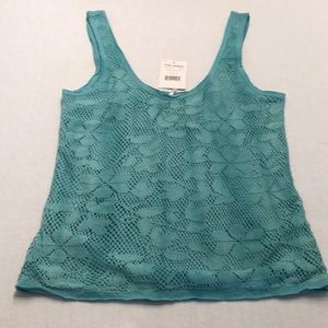 NWT FREE PEOPLE Blue Green Crop Top size M